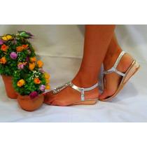 Sandalias Importadas Bajas Plata Con Strass