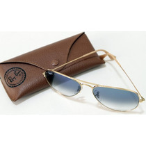 Óculos Ray-ban Original Aviador Rb3025 Dourado Azul Degrade