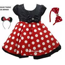 Vestido Infantil Festa Minnie Vermelho Luxo E Tiara Minie