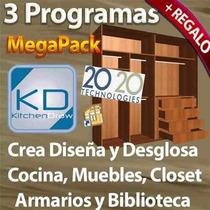 Kit Programa Profesional Diseña Cocina Mueble Closets Baños