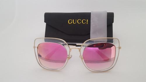 Óculos Gucci Rosa - Frete Grátis - Lançamento - R  129,00 em Mercado Livre 6f95cecc2a