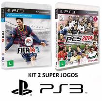 Fifa 14 + Pes 2014 - Ps3 - Midia Fisica, Original E Lacrado
