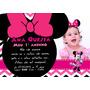50 Convites Personalizados Minnie Rosa 10x15