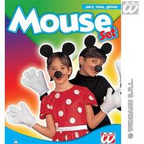Disfraz De Micky Mouse Para Niños Nariz, Orejas Y Guantes