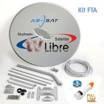 Antena Satelital 1m Arsat Fta+lnb Antilluvia+cable Skyfreetv