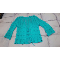 Saquito Saco Nena Tejido A Mano Turquesa Crochet