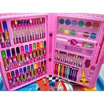 Kit Maleta Escolar Cor De Rosa Com Desenhos P/ Colorir 86pçs