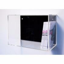Nicho Acrílico Transparente C/ Preto 50 Cm X 33 Cm X 15 Cm