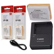Kit 2 Baterias Canon Lp-e8 Original + Carregador Lc-e8c T3i