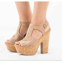 Plataformas Sandalias Jeans Tacon Corcho Mujer Moda Calzado