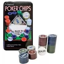Kit Poker Profissional Maleta Em Lata Com 100 Fichas