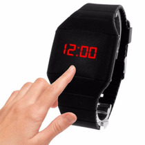 Reloj Led Touch Digital Slim Unisex Moda Silicon Negro
