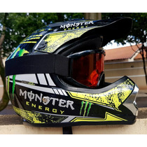 Capacete Cross Monster Energy C/ Óculos