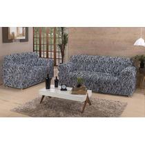 Linda Capa Sofá Estampada Branco Preto Zebra 2 E 3 Lugares