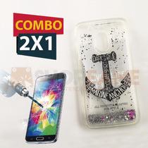 Funda Liquid Case Cascada Agua Diseño + Cristal Moto G4 Play