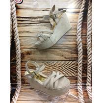 Sandalia Plataforma Bajita Beige Mujer Fabricantes Calzado