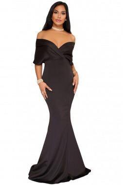 Sirena Lujo Corte Vestido Fiesta Maxi Largo Elegante Negro t07PIwqdn