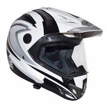 Capacete Yohe Trail Sport - Cros Com Viseira Branco E Preto