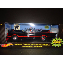 Batimovil 1966 Adam West Hotwheels 1/18 Con Batman Y Robin