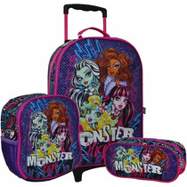 Maleta Kit X 3 Ruedas+lonchera+cartuchera Monster High Origi