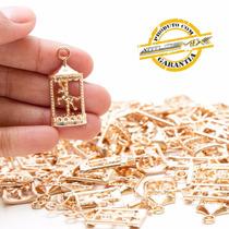 Pacote 70 Pingentes Carrossel Metal Dourado Decoração