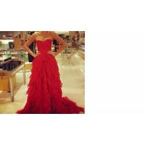 Vestido Rojo De Noche O Graduacion Con Cola