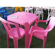 Jogo Mesa Com 4 Cadeiras Bistrô Rosa De Plástico Empilháveis