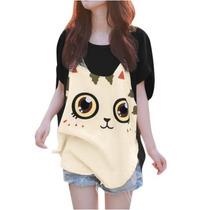 Tsuki Moda Asiatica: Blusa Casual Holgada Cara Gato Kawaii