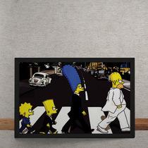 Quadro Decorativo Beatles Simpons Abbey Road 25x35