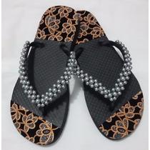 Sandália Chinelo Havaianas Decorado E Bordado Com Pérolas