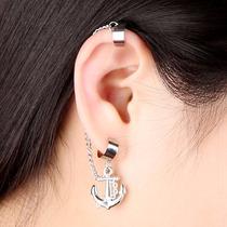 Joyería Arete Ear Cuff Plateado Ancla Oreja 1 Pieza- Je073