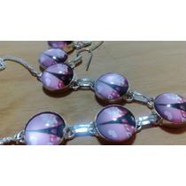 Collar Y Aretes De Vidrio Dicroico