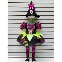 Disfraz Bruja Elegante Brujita Multicolor Mallas Sombrero