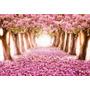 Painel Banner Decoração Festa Paisagem Flores Rosa Ipê