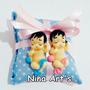 50 Lembrancinhas Maternidade Chá De Bebê Em Biscuit Gêmeos