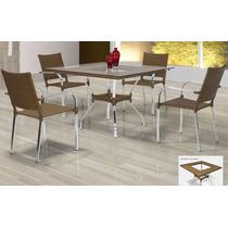 Mesa + 4 Cadeiras Alumínio Em Fibra Sintética C/ Nota Fiscal