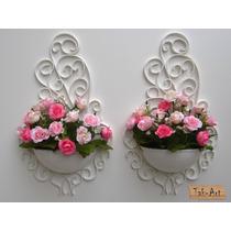 10 Arranjos Flores Rosas Artificiais Vaso Arandela Branco