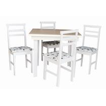 Jogo De Mesa 4 Cadeiras Branca Com Tampo Amadeirado E Assent