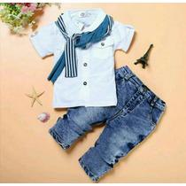 Conjunto De Bebê Menino Camisa E Calça Jeans Importado