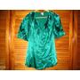 Hermosa Blusa Camisa Verde Botella Brillosa Volados Candies
