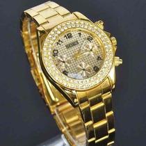Relógio Pulso Feminino Quartzo Soki Dourado - Pronta Entrega