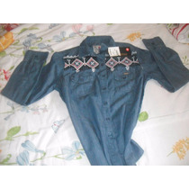 Camisa Jeans Feminina Polo Wear Bordada Tam 40