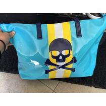 Bolsa Grande Maleta Con Calavera Color Azul Charol Padrisima