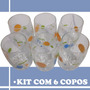 Kit Jogo Com 6 Copos De Vidro Moriste Decorados Coloridos