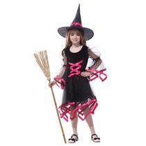 Fantasia Infantil Menina Bruxa C/ Fitas Pink Festa Halloween