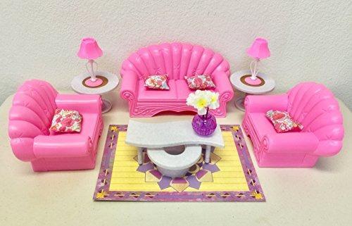 Muebles De Casa Muñecas Barbie, Juego De Sala De Estar - $ 128.900 ...