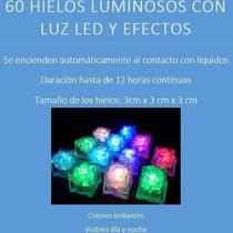 60 Cubos De Hielo Con Luz Led Sumergibles