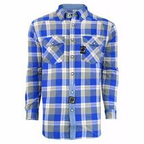 Camiseta Blusa Moletom Blunt Flanela Azul Xadrez- Original