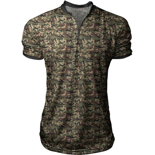 36dcdbd877 Camiseta Camisa Polo Sport Ziper Camuflada Swag S168 - R  56