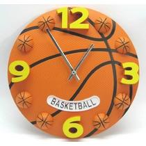 Reloj Decorativo Para Niño Pelota De Basket